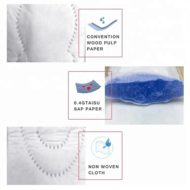 Healthy Sanitary Napkin Pads Free Night Use Japan Cloth Disposable with Herbal Chip Breathable Wingless Regular