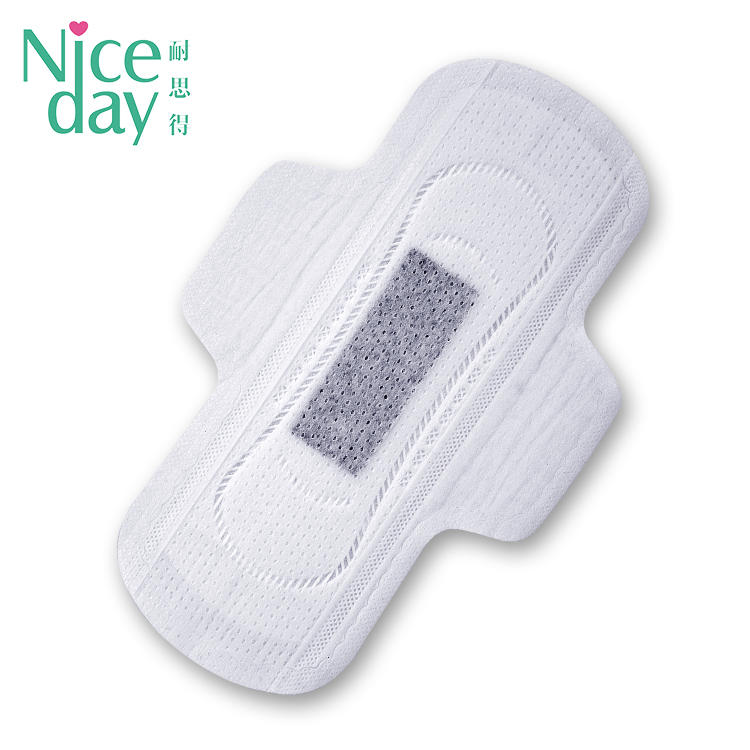 Niceday Black Large Chips Cloth Day Use Disposable Winged Regular Negative Ions Panty Liners With Wings/Waterproof Sanitary Pads