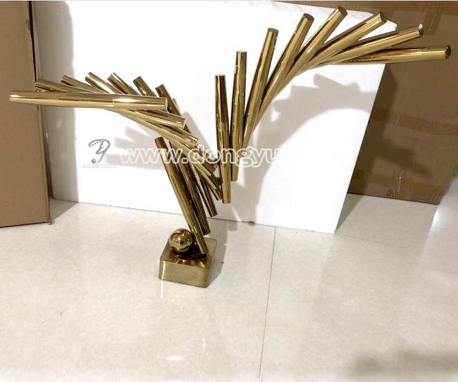 Modern home decoration and ornament electroplated stainless steellarge sculpture for indoor decor