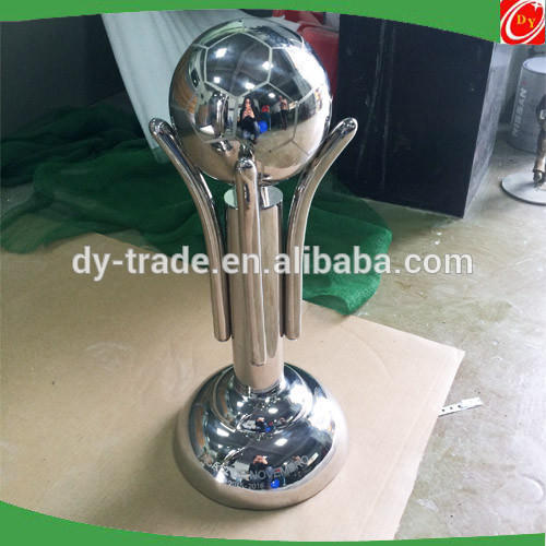 Customized design stainless steel football trophy sculpture ,stainless steel cup