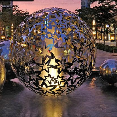 Steel Leaf Flower Sphere Sculpture Engraved Steel Hollow Sphere For Outdoor Decoration