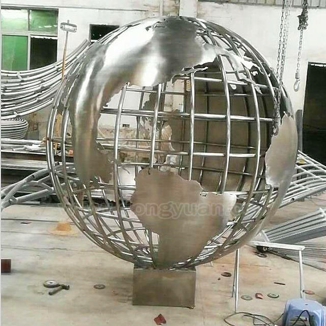 Polished and Carved StainlessSteel World Globe Ball /Large Outdoor Sculpture