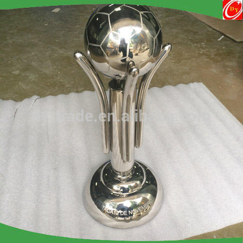 Custom Mirror Polished Gold Stainless Steel Trophy with Football Basketball Top