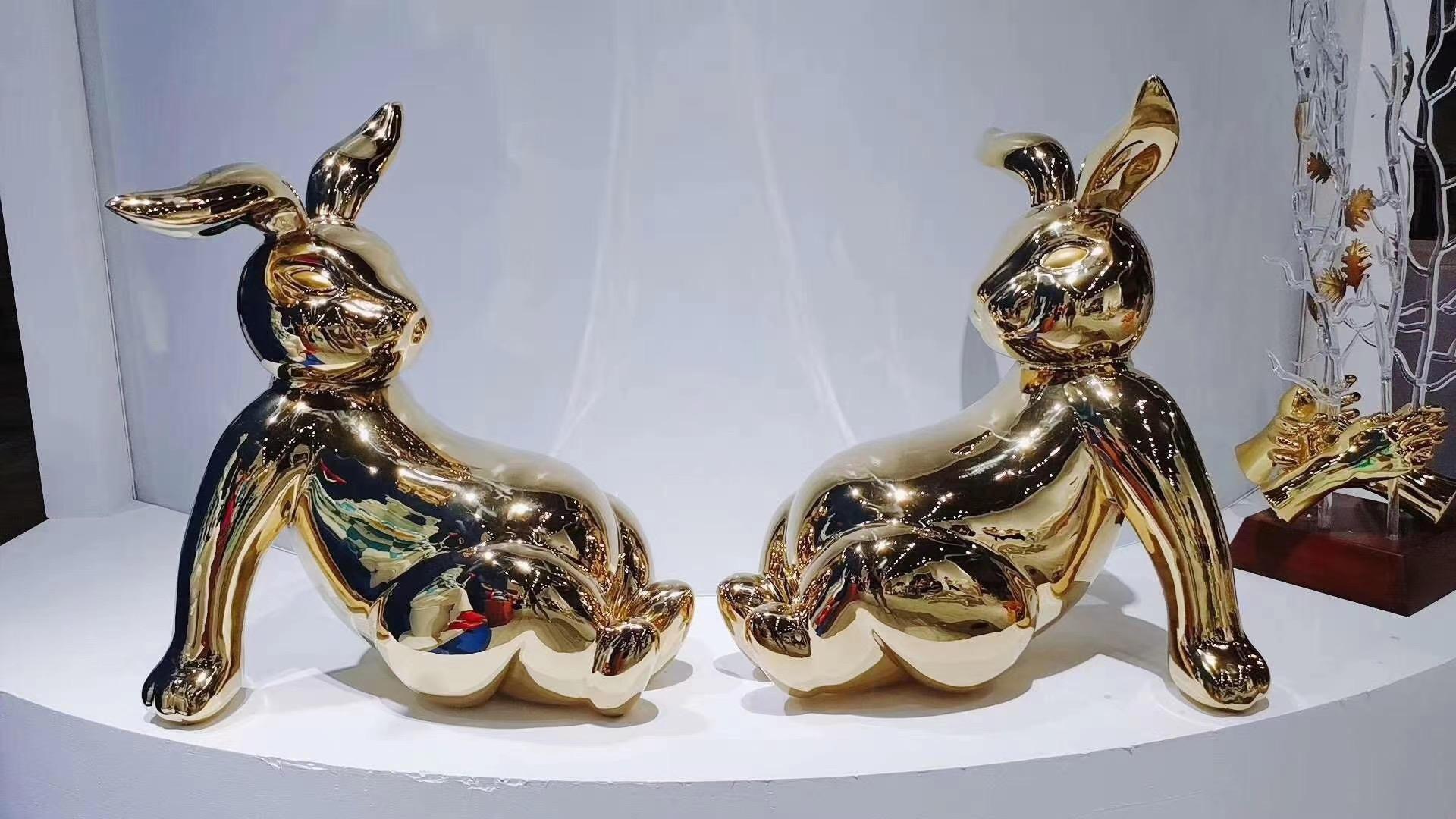 customized metal rabbit display in market showroom
