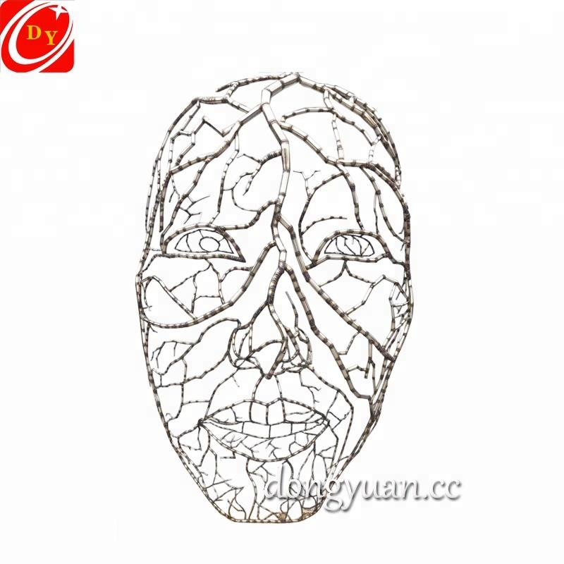Large Abstract Garden Metal Tree Sculpture, Face Mask Sculpture for Sale