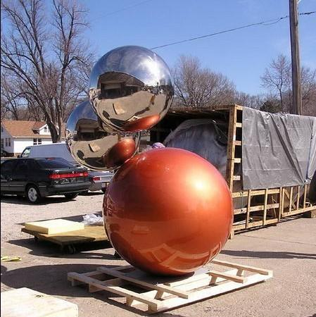 stainless steel ball planter for garden or public architecture