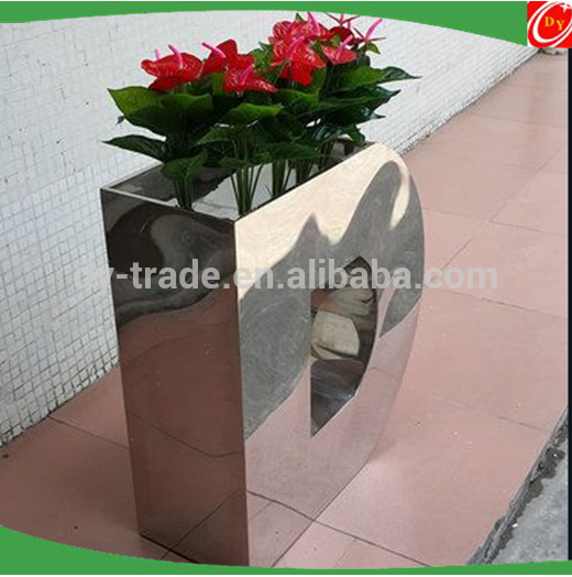 Stainless steel flower pots /planter for wedding ,business center /shopping center decoration