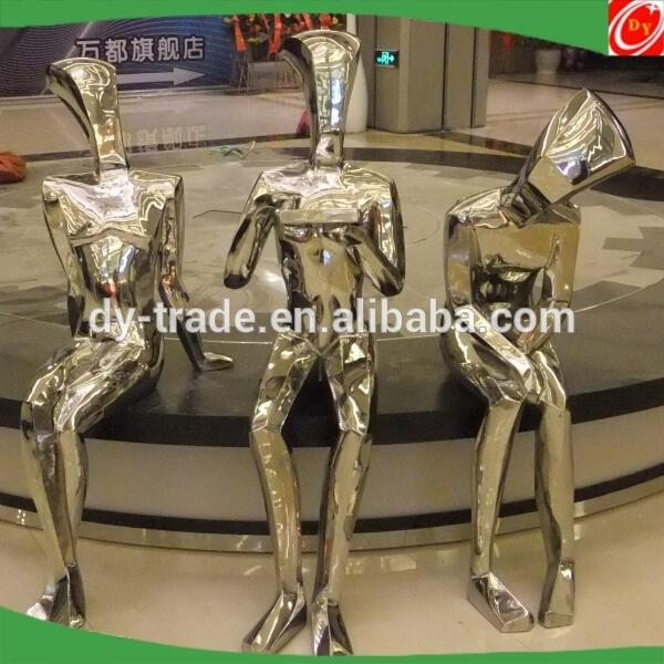 outdoor monument stainless steel human sculptures