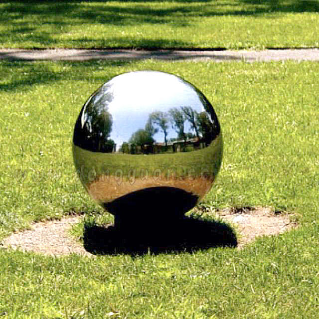 Public Art Stainless Steel Garden Decorative Spheres, Large Stainless Steel Reflective Balls