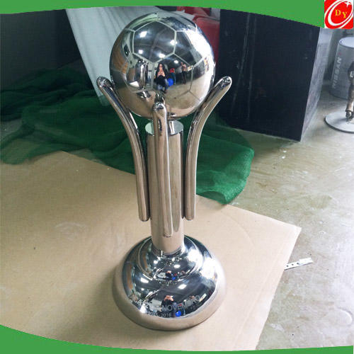 Customized stainless steel football trophy sculpture ,high polished steel trophy