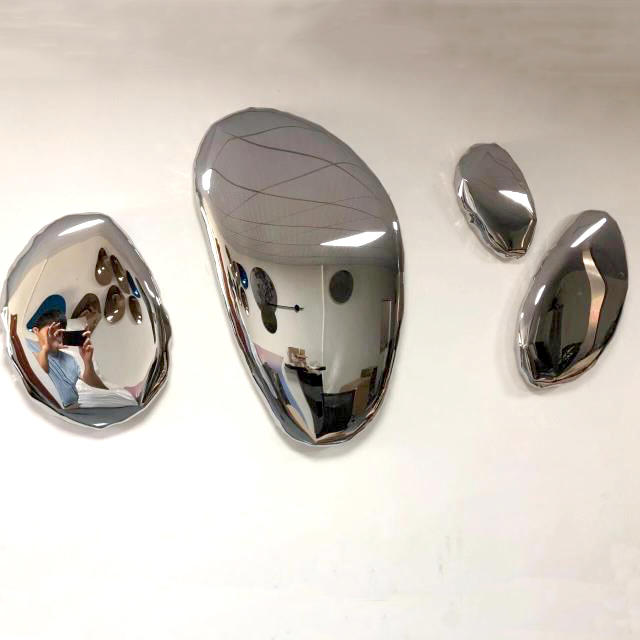 Polished Stainless Steel Stone Sculpture for Hanging WallDecoration