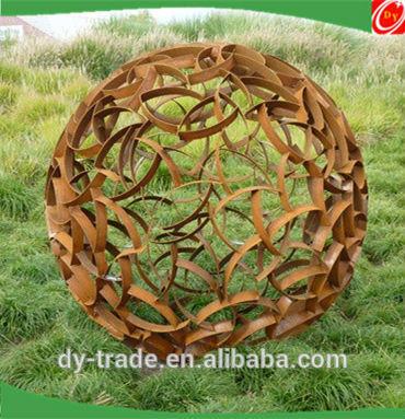 700mm iron hollow sphere sculpture garden ball, painted landscape iron sculpture