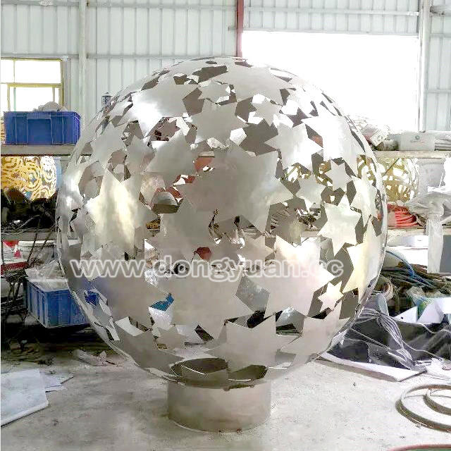 Laser CutStainless Steel Decorative Ball Sculpture , Metal Ball Lantern Decoration