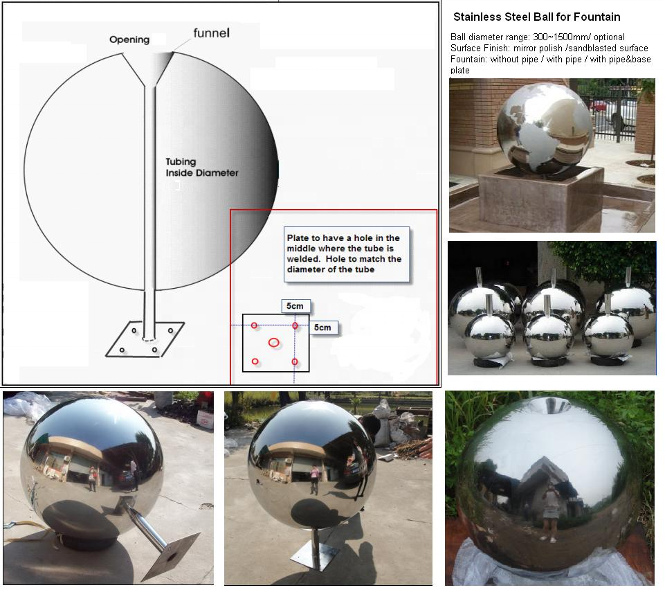 Garden Polished Stainless Steel Fountain Decoration Ball/Sphere with Square Base