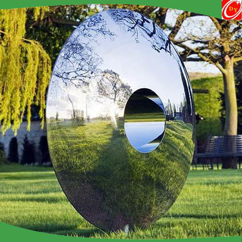 Conceptual Mirror-polished Stainless Steel Hollow Sculpture with Portal Hole
