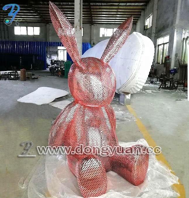 Modern Arts Pinkish Bunny Sculpture for Luxury Store, Theme Park