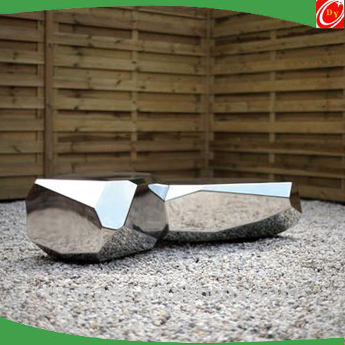 Decorative High Outdoor Round Cubic Stainless Steel Stone Sculpture