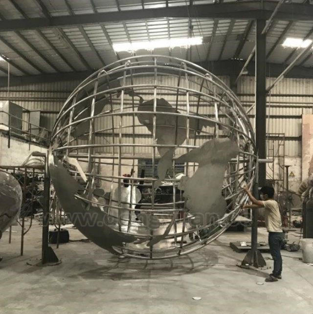 2 Meters Large Stainless Steel World Map Globefor Outdoor Decoration