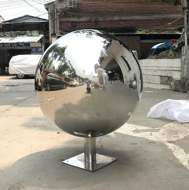Mirror Polished Stainless Steel Map Sphere for Outdoor Decoration