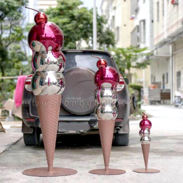 Stainless steel ICE CREAM Melting Paint Sculpture forGarden Decoration