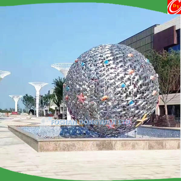 Modern Large Public Art Stainless Steel Fish Animal Sculpture Statues with Color