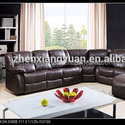 Home Furniture contemporary sectional recliner brown leather Air recliner sofa suites