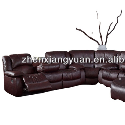 bonded leather sectional reclining corner Sofa Sets with chaise for living room