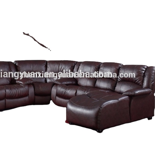 2021 Bonded Leather Sectional Reclining Sofa with Chaise, Brown