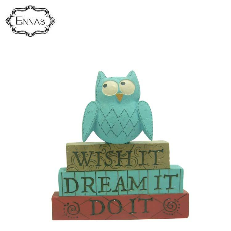 Blue Owl Figure on the 'wish It' Stacked Blocks Holiday Gifts Office Decoration Ornaments