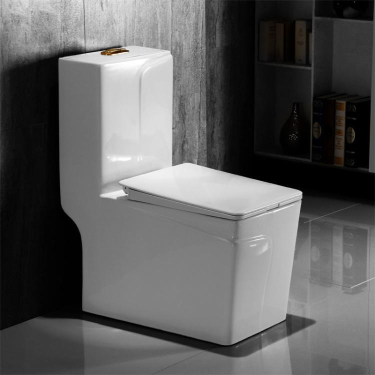 Floor mounted square one piece hotel toilet products