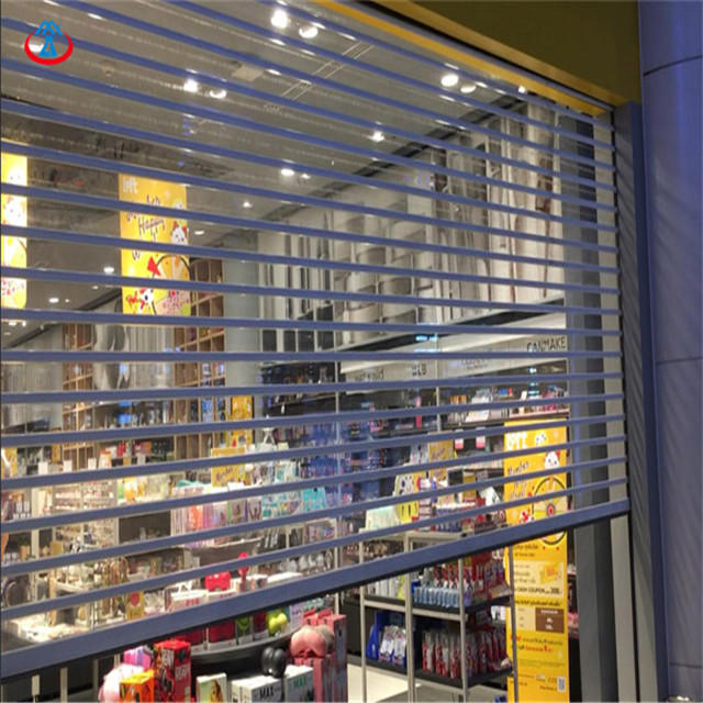 90mm Width Of The PC Slat 3000mmW*2200mmHTransparent Polycarbonate Rolling Shutter Roller Door With Motor