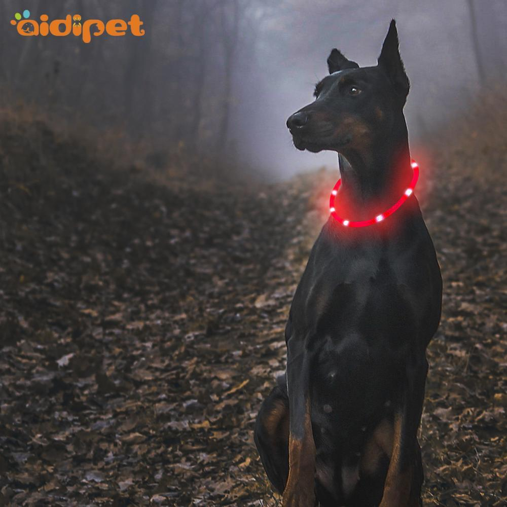 Silicone Retractable LED Light-up Dog Collar