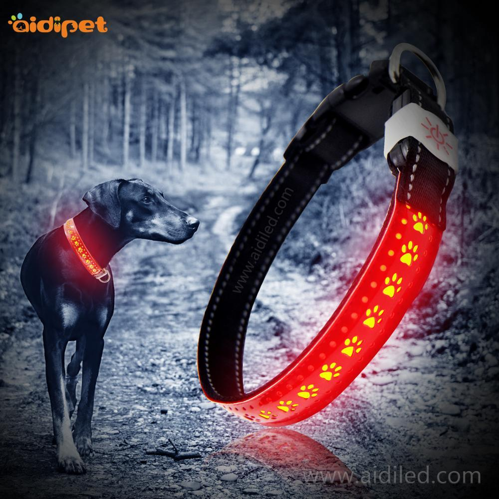 Night Glowing Safety Light Adjustable Buckle Leather Led Dog Collar