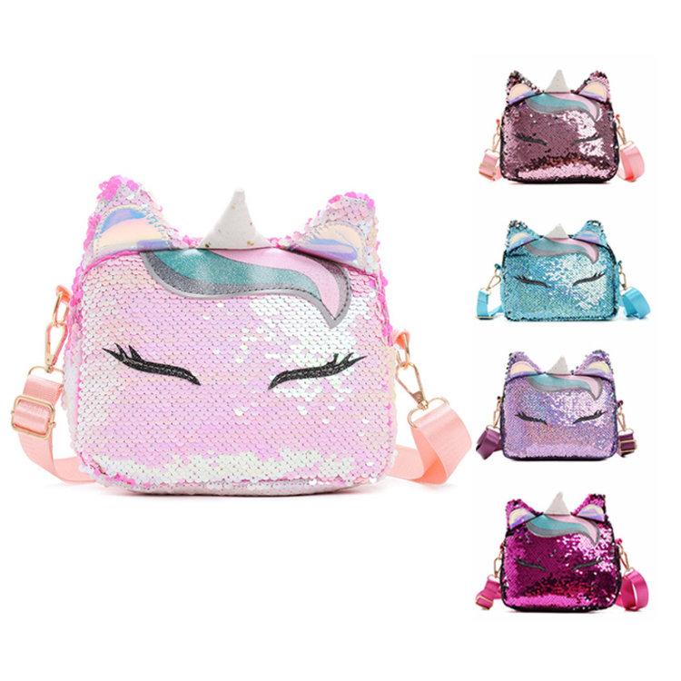 Osgoodway New Trendy Cute Sequin Unicorn Little Girls Crossbody Purses Shoulder Sling Bags for Women Girls