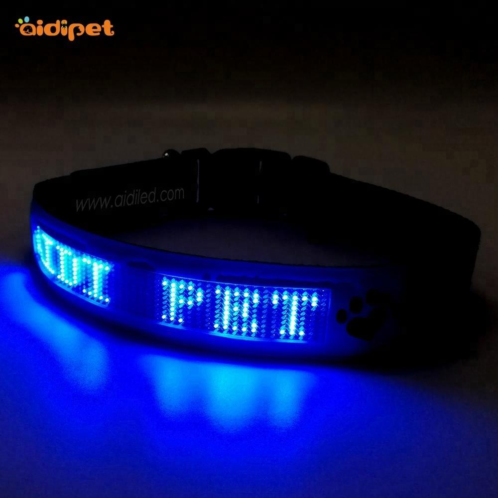 Led Display Pet Dog Accessories, Adjustable Rechargeable Led dog collar