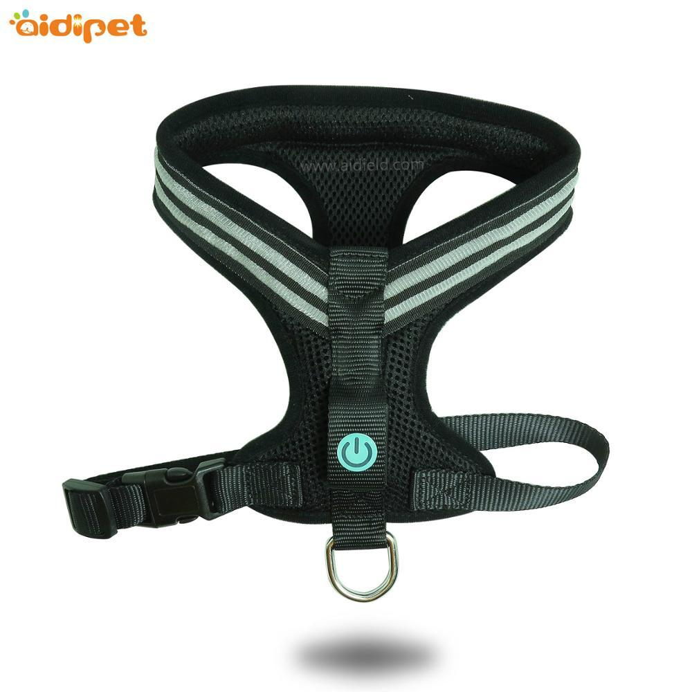 Wholesale Custom Adjustable Rechargeable Pet Led Flashing Dog Harness for pet