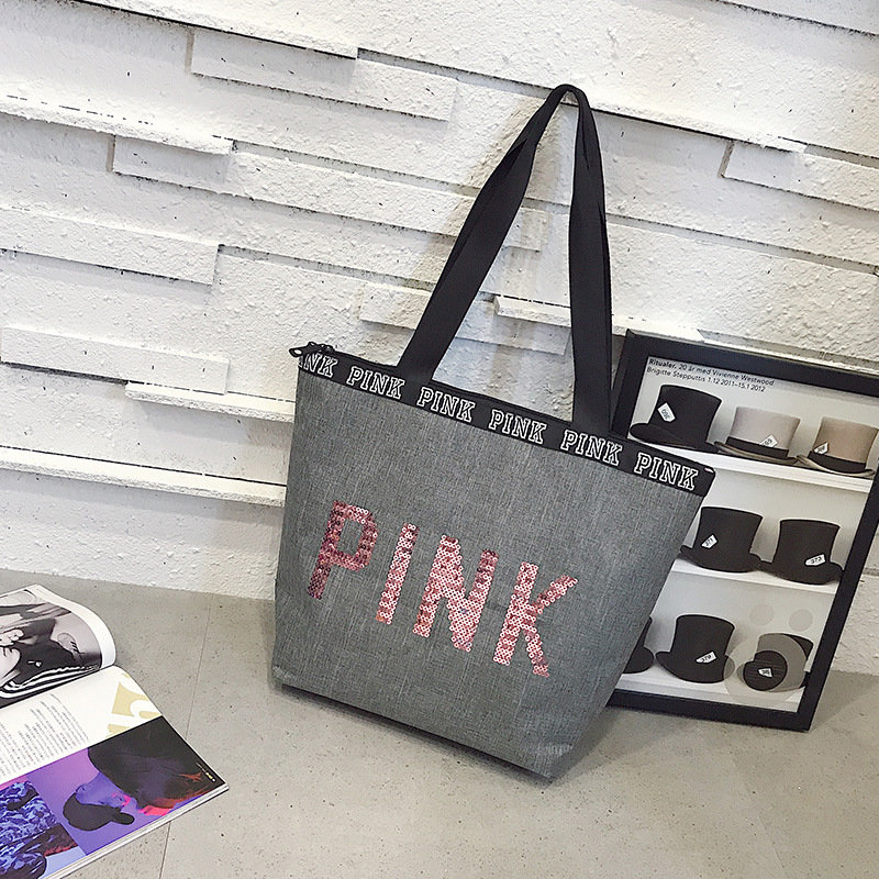 product-Osgoodway2 Pink Shopping Bags Woman Ladies Fashion Travel Large Capacity Shopping Sequin Tot-1