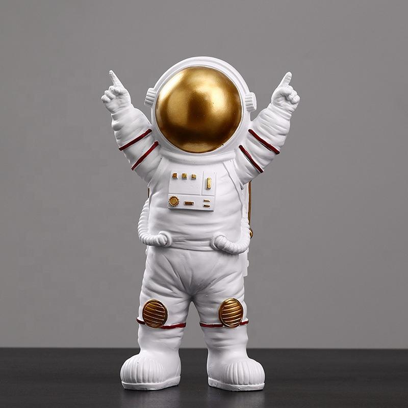 Resin 25 cm Tall Standing Astronaut With Victory Pose Figurine Victorious Cosmonaut Statue Home Decor Gift For Man & Boyfriend