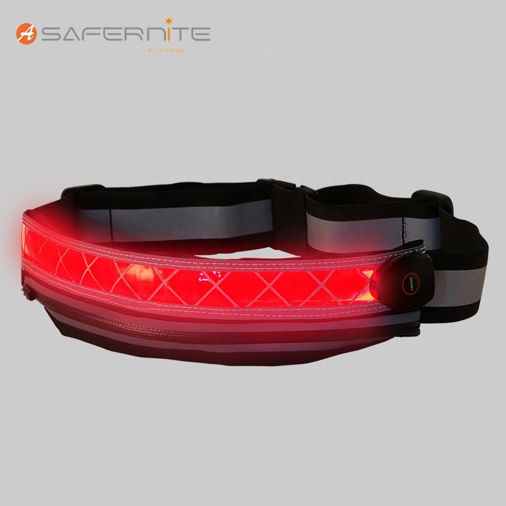 Adjustable LED USB Rechargeable Sport Waist Bag For Running