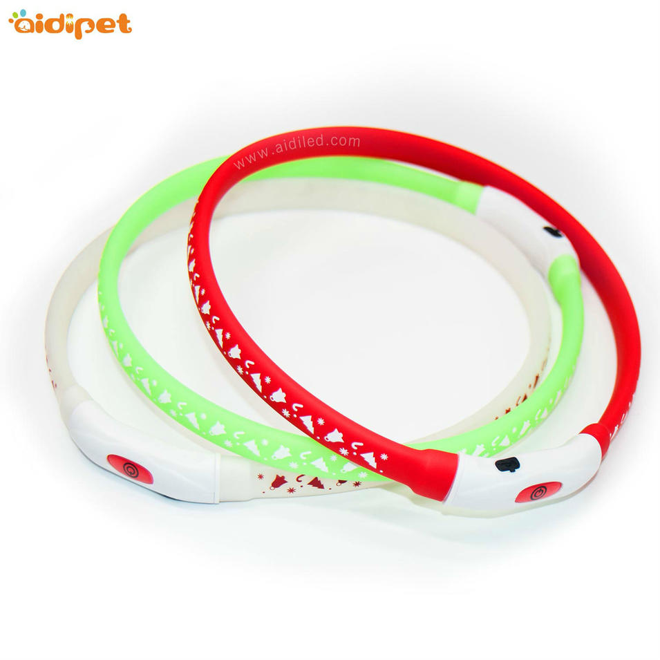 USB Rechargeable Battery LED Silicone with printing for dog collar