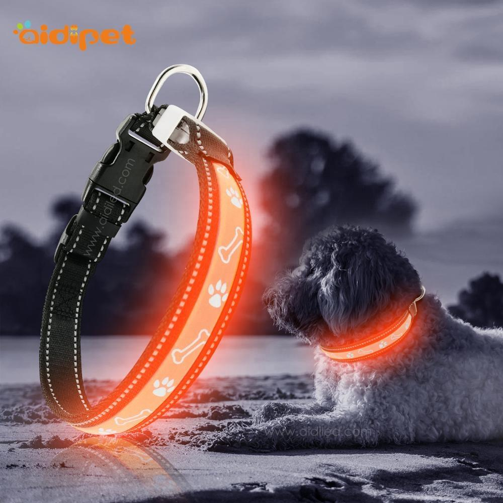 Dog Bone Pattern Led Cat& Dog Collar Pet Supplies Led Dog Collar Leash Sets with USB Charging Battery