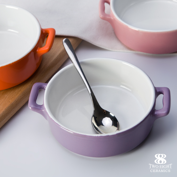 Good price china porcelain bakeware bowl with handle glazed dinnerware restauratn bakery microwave oven safe crockery tableware