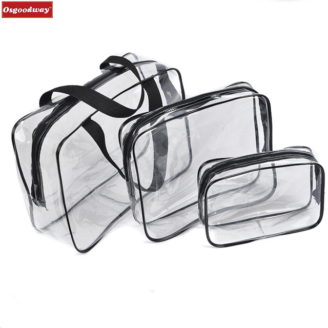 product-Osgoodway Toiletry Bags 3 in 1 Gift Makeup Bags and Cases Plastic Bag Clear PVC Travel Stora-1