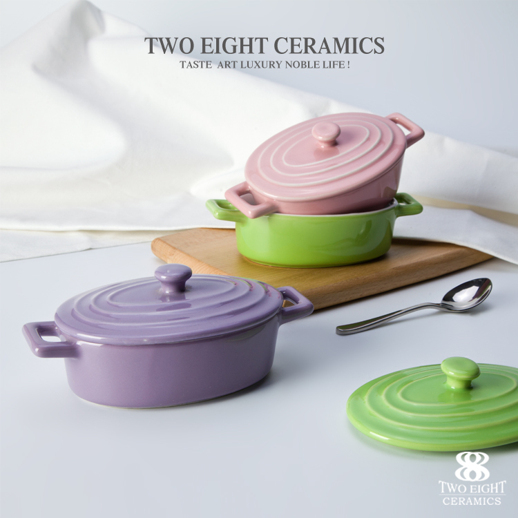 Factory wholesale custom design color glazed baking dish