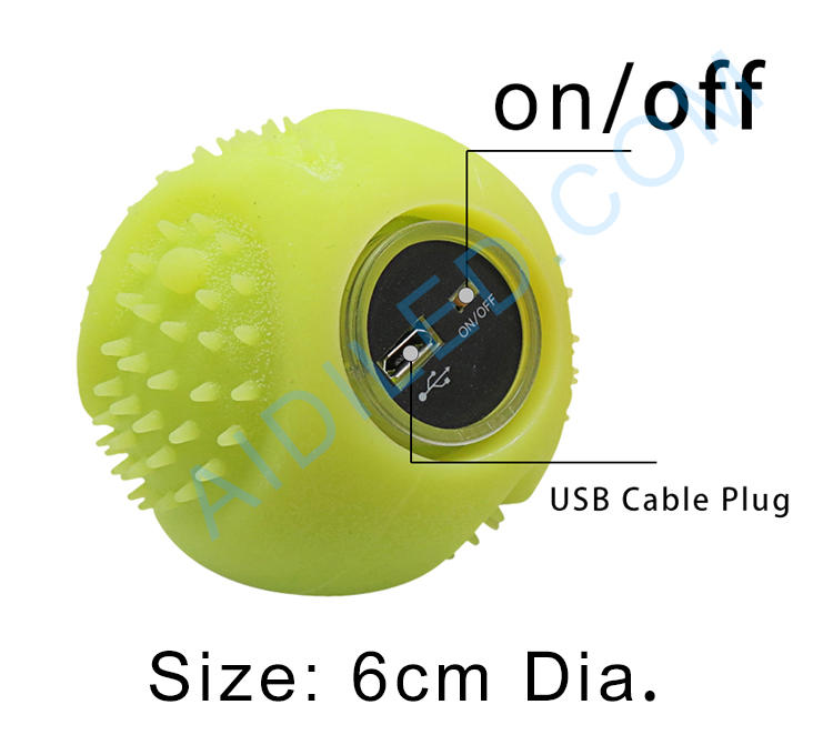 Silicone USB rechargeable pet toys ball glowing at night