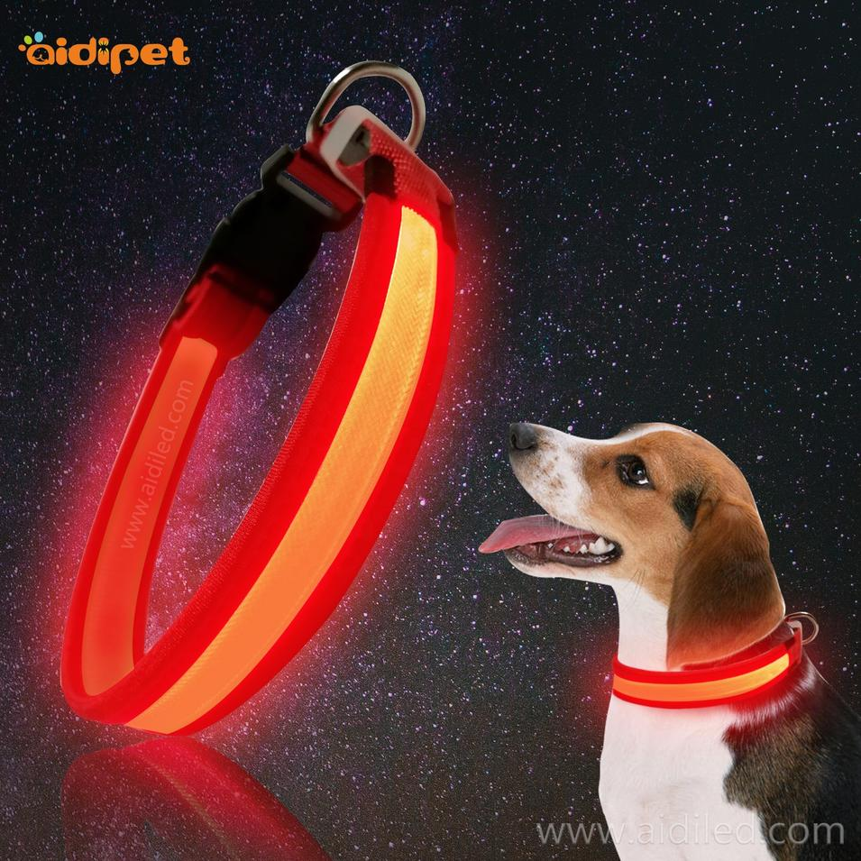 Night Training Nylon LED Collar for Dog Pet Safety Led Flashing USB Dog Collar Leash Set