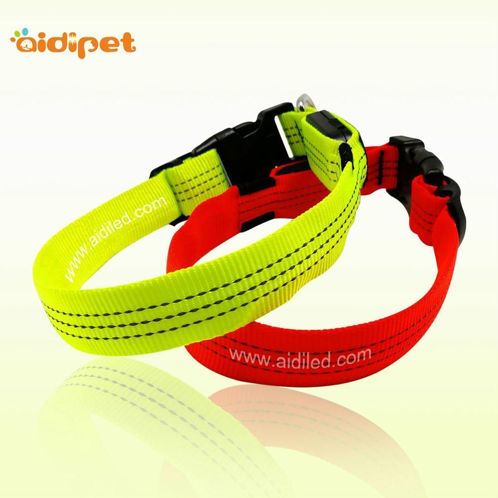 Nylon Reflective Dog Collar with Led Light High Quality Reflective StitchingPet Night Safety