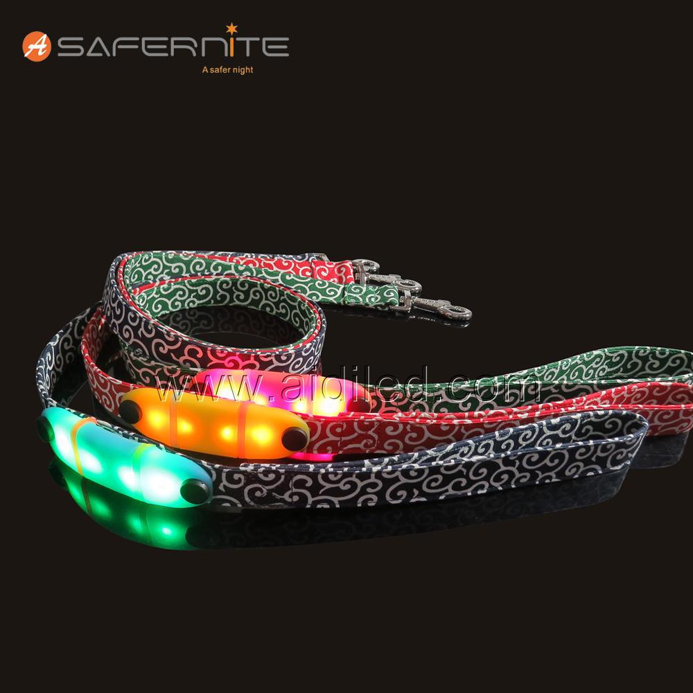 Safety LED Dog Leash, USB Rechargeable Flashing Light, 1000 Feed Visibility