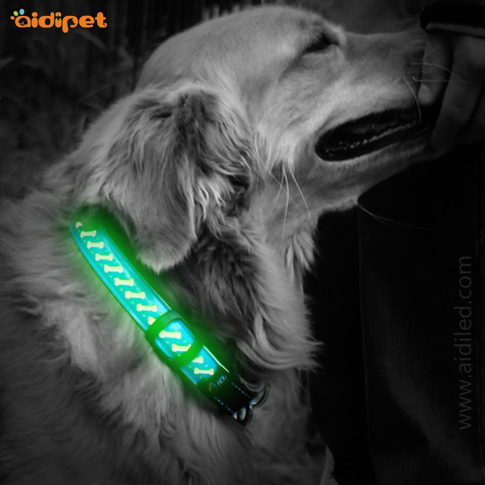 High Quality USB Rechargeable Led Dog Collar Flashing Light PU Leather Dog Collar Factory 2019 Style