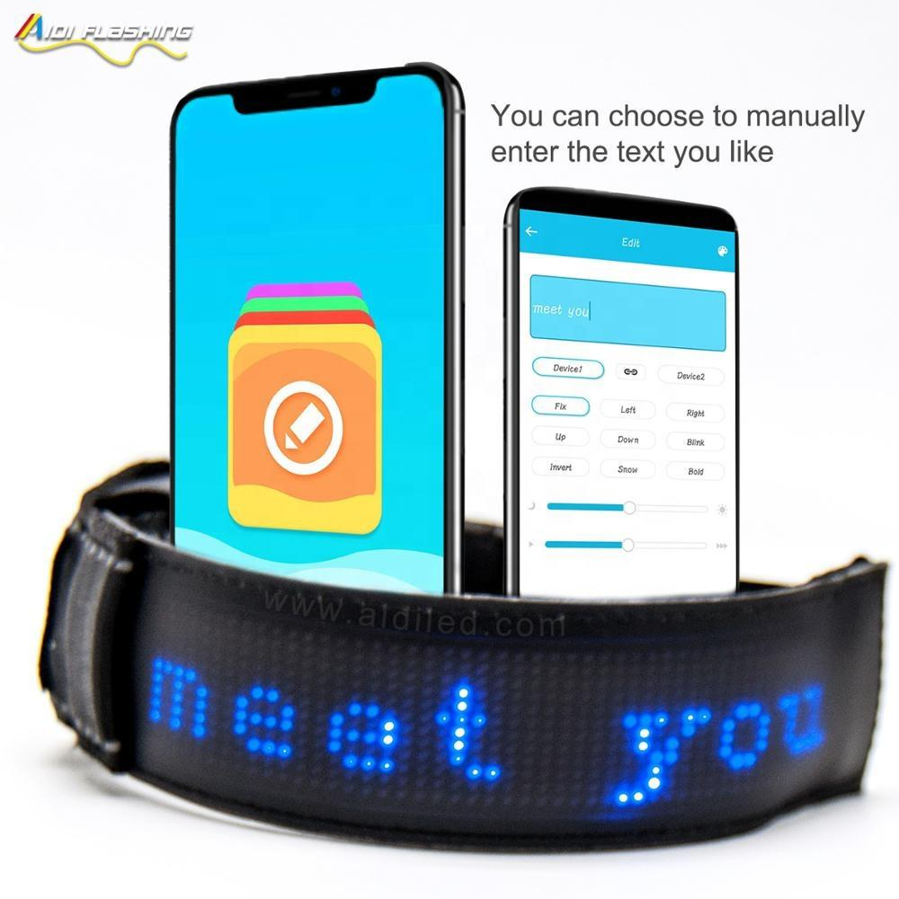 NEW! Technology Led Smart Sport Amband APP Remote Controlled Type Words you Want on the Led Safety Armband